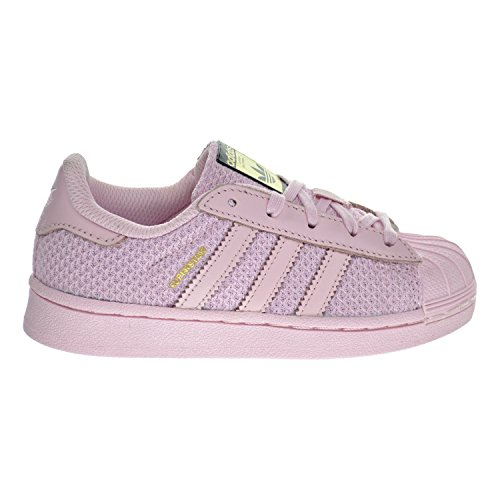 adidas Originals Girls' Superstar EL C Skate Shoe, Clear Pink/Pure Pink Pure Pink Fabric, 13 M US Little Kid