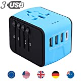 electrical adaptor type c - All In One Universal USB Travel Power Adapter With 3 USB Port And Type-C International Wall Charger Worldwide AC Power Plug 8 Pin AC Socket For Multi-nation Travel UK, EU, AU, Asia Over 200 Countries