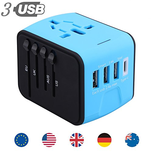 All In One Universal USB Travel Power Adapter With 3 USB Por