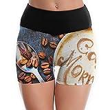 Kui Ju Women's Yoga Shorts Coffee Background High Waist Power Flex Workout Running Short