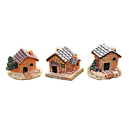 Xisheep  Decor, Mini Dollhouse Stone House Resin Decorations for Home and Garden DIY Mini Craft Cottage Landscape Decoration