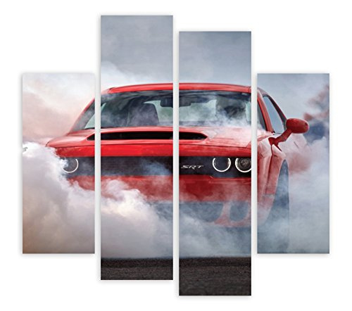 2018 DODGE CHALLENGER SRT DEMON AMERICAN MUSCLE CAR BURNOUT 4 PANEL CANVAS  WALL ART