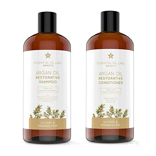 Argan Oil Shampoo and Conditioner Set 16 ounce each Bottle by Essential Oil Labs