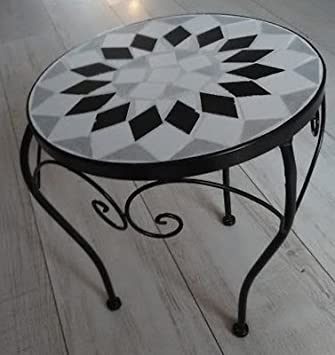 LIFE DECO Table MOSAIQUE Basse Appoint Guéridon Fer Forge ...