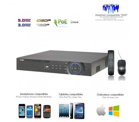 IP - Grabador de 16 Cámaras de vigilancia de 16 Canales NVR PoE + Puertos - nvr-ip-220: Amazon.es: Bricolaje y herramientas