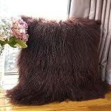 "100% REAL Mongolian Lamb Wool Cushion Cover Curly Fur Pillowcase 50x50cm High-grade Luxury MONGOLIAN Tibet LAMB Goat 100% FUR Pillow Cover 20"" x 20"" DUNE (brown)"