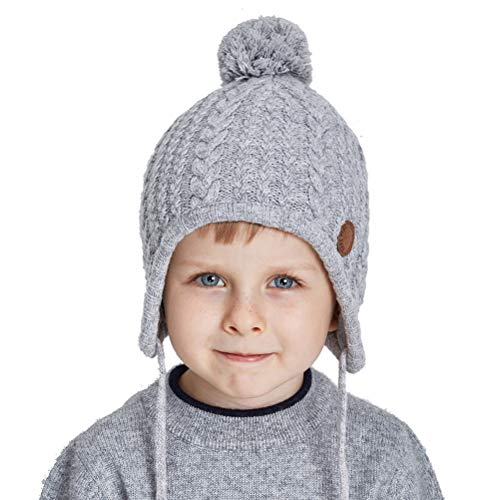 Toddler Ear Flap Beanie Unisex Children Winter Knitting Pom Pom Hat Girls Boys Hat,Light Grey,Normal one size fit for 18-21 inch with stretch