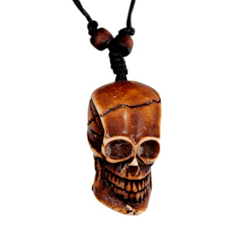 [Bone Pirate Skull Necklace] (Tiki Costumes)