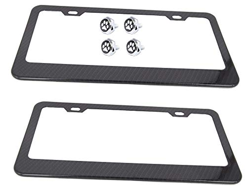PUQIN-AUTO License Plate Frame Carbon Fiber-1 Pack Printing Carbon Fiber Metal Aluminum Black License Plate Holder Cover 3D Logo M Performance for BMW with Stainless Steel Plate Screws /& Carbon Caps