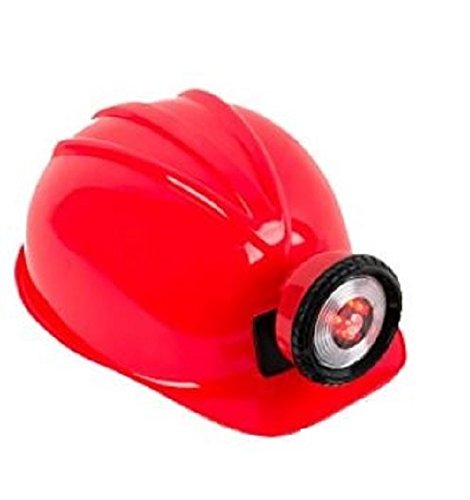 Kids Coal Miner Costume (Toy Miner's Helmet with Functional LED Light (Red))