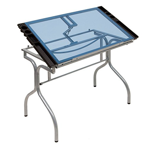 Home Office Folding Craft Station Silver / Blue Glass by Craft Accents