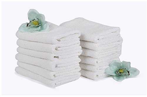 "24 Pack Pure Cotton Washcloths 12"" x 12"" Multi Purpose Gym, Spa, Yoga, Hand and Face towel in White By Egypto"