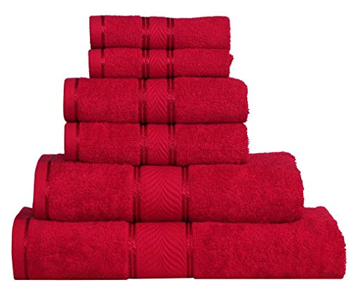 Divine Elegance - 100% Cotton, Soft, Extra Absorbent, Quick Dry & Durable, 450 GSM, 6 Piece Towel Set (2 Bath Towels 2 Hand Towels 2 Face Towels) - Festive Red ()