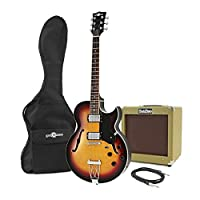 San Diego Semi Acoustic Guitar and SubZero V35RG Amp Pack Sunburst