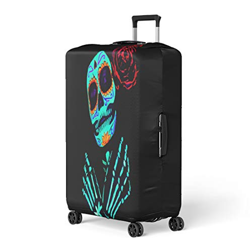 Pinbeam Luggage Cover Young Girl Santa Muerte Saint Death Sugar Skull Travel Suitcase Cover Protector Baggage Case Fits 22-24 inches -