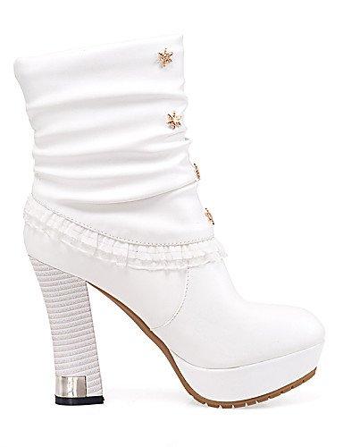 5 Punta Eu39 Casual negro White us8 Moda La Zapatos Cn39 White Tacón Uk3 Plataforma Uk6 De 5 us5 Vellón Semicuero Mujer Vestido Cn35 Redonda Xzz Eu36 A Botas Robusto pHYqa