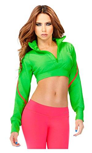 Babalu Fashion Women Long Sleeve Turtleneck Crop Top Jacket Pullover Ladies Activewear Chaquetas Deportivas de Mujer Ropa para Dama 35153 Green