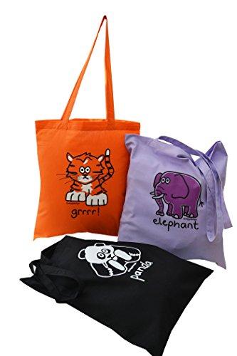 'Go wild!' Tiger, Panda & Elephant. 3 pk tote bags