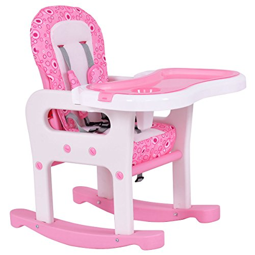 Costzon 3 in 1 Infant High Chair Convertible Play Table Seat Booster with Feeding Tray (Pink) by Costzon (Image #2)