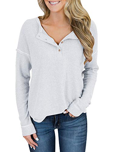 Imily Bela Womens Classic Lightweight Long Sleeve Button up Textured Knit Blouse Sweater White ()