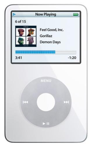 Apple iPod Classic Video 30GB White 5th Generation - Discontinued by Manufacturer Comes with Generic Ear pods Wall Pug and Charging Wire Packaged in White Box