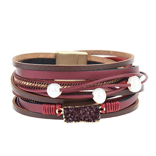 COOLLA Women Genuine Leather Vintage Volcanic Stone Wrap Bangle Bracelet Pearl Pendant Magnet Buckle (Red)