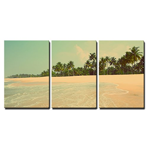 """Wall26 - 3 Piece Canvas Wall Art - beautiful beach landscape in India - vintage retro style - Modern Home Decor Stretched and Framed Ready to Hang - 16\""""x24\""""x3 Panels"""