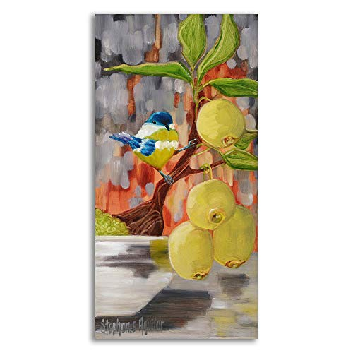 Tangletown Fine Art Chickadee with Bonsai Canvas Art 23x47 Gray, Green, Blue by Tangletown Fine Art (Image #1)