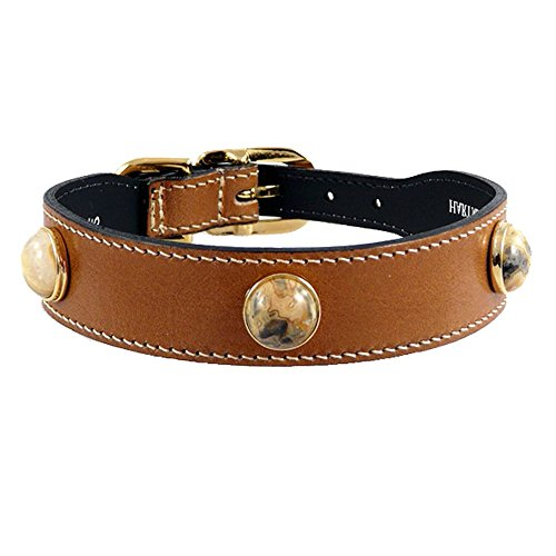 - Hartman & Rose Leather Dog Collar with Agate Semi Precious Stones - Au Natural Collection Jeweled Pet Collar Tan, 12 to 14 Inch