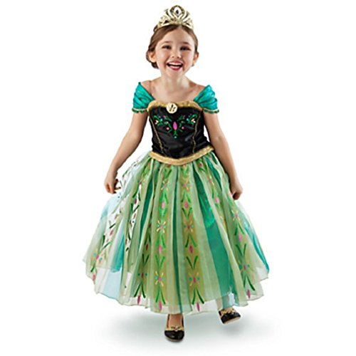 Frozen Anna Elsa Deluxe Girl's Costume Enchanting Dress (Age 6-7 (Heights upto 51 inches or 130 cm), Anna - (Elsa Anna Costume)
