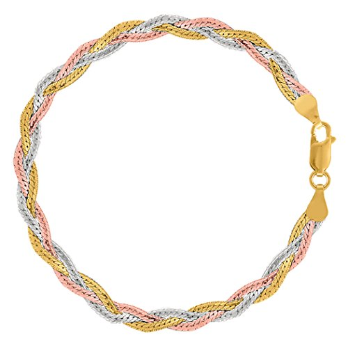 Tricolor Braided Snake Chain Anklet In Sterling Silver, 10