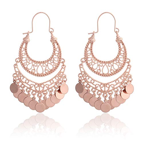 RIAH FASHION Bohemian Chandelier Coin Dangle Earrings - Gypsy Lightweight Filigree Disc Charm Tassel Ethnic Hoops (Rose Gold)
