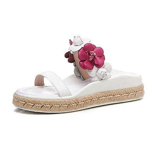 PENGFEI Zapatillas Verano De Las Mujeres Plano Playa Flores Tejeduría, Altura del Talón 3.5CM, 2 Colores (Color : Pink, Tamaño : EU38/UK5.5/US7/240) Blanco