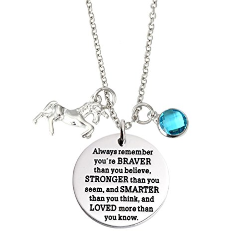 T-Perfect Life You are Braver Than You Believe Stainless Steel Unicorn Birthstone Pendant Necklace (March)
