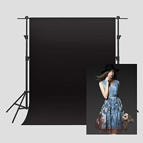 Black Solid Color Backdrop Polyester Fabric Background for Photography 5x7ft Wrinkle Resistant Washable Backdrop for Portrait Photo Studio Video Shooting VVM002