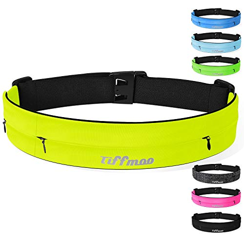 Tiffmoo Running Belt Fanny Pack, Adjustable Running Waist Belt Fits with 3 Zipper Pouches for All Models of Phones Holder in Running Jogging Hiking Cycling Climbing