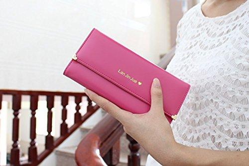 1 x Señoras' Bolso - Carpeta de la PU / Bolso / Envuelve el Monedero / el Sostenedor / el Billfold de las Tarjetas - Rojo de la sandía Rosado