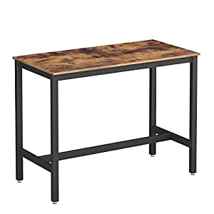 VASAGLE Industrial Dining Table, Bar Table with Solid Metal Frame,  Multifunctional Desk for Dining Room or Living Room, Wood Look Accent  Furniture ...