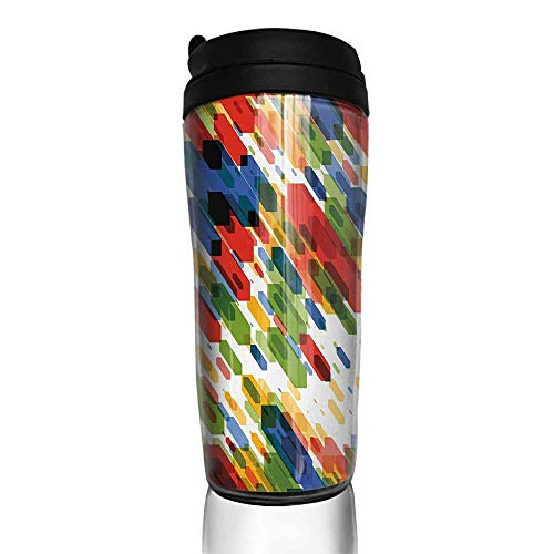 coffee cups with lids 12 oz Art,Diagonal Geometric Shapes Abstract Colorful Modern Design Vibrant Graphic Figures Print,Multicolor 12 oz,cup for coffee glass set