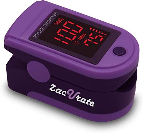 Zacurate Pro Series 500Dl Fingertip Pulse Oximeter Blood Oxygen Saturation Monitor With Silicon Cover, Batteries Lanyard Royal Purple