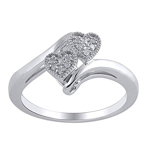 - 0.05 cttw Diamond Double Heart Promise Ring In 925 white Gold Over Sterling Silver (J-K/I3)