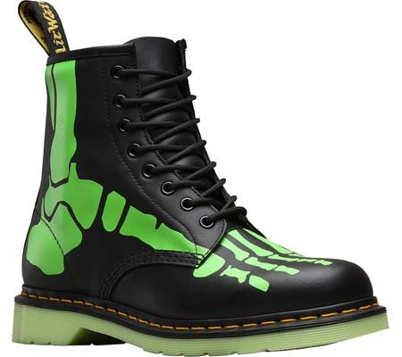 Dr.Martens Skelly Print Softy T Black Green Womens Boots Size 5 UK