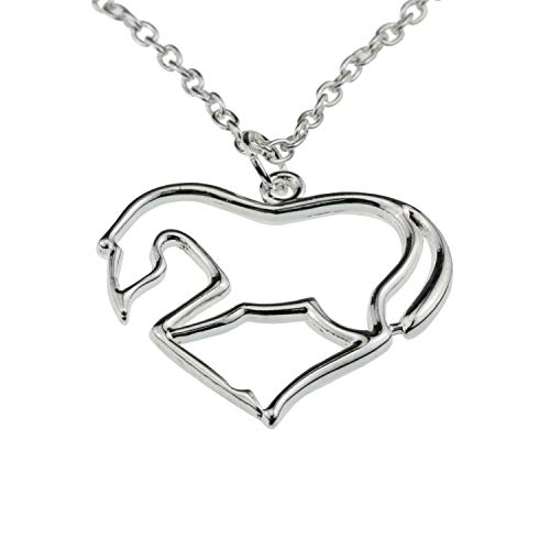 - Silver Heart Horse Pendant Necklace [My Little Pony] Jewelry Gift for Girls/Teens/Women Equestrians & Rodeo Fans