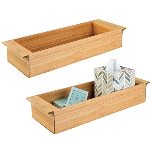 mDesign Bamboo Toilet Tank Storage Bin - Pack of 2, Natural