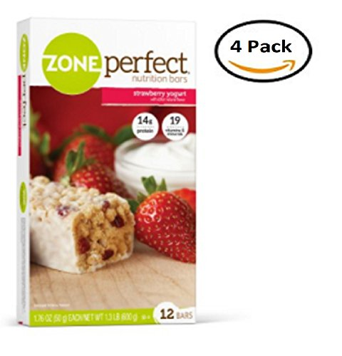 ZonePerfect Nutrition Snack Bars, High Protein Energy Bars, Strawberry Yogurt, 1.76 oz , 12 Ct., 4 Packs (Zone Sweet Perfect)