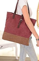 ilishop Canvas Shoulder Hand Bag Tote Bag Shopping Bag (Winered)