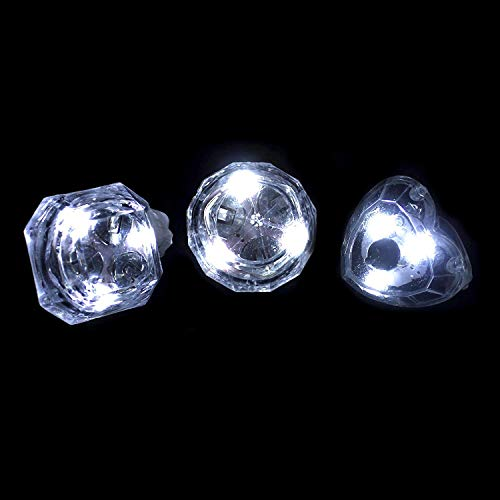 Fun Central 24 Pack - LED Flashing Diamond Rings Bulk - LED Rings Party Favors for Kids & Adults - Assorted Designs -
