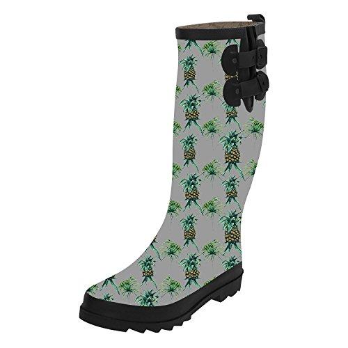 Rod Custom Suspension (Women's Pineapple Custom Waterproof Solid Tall Rain Boot Top Snow Knee High Boots Rainboots 7)