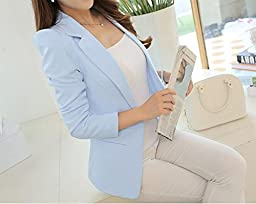 Friendshop Womens Office One Button Long Sleeve Slim Blazer Casual Suit Coat Jacket