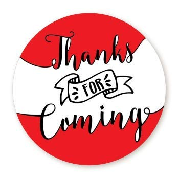 Red Round Gift Stickers - Thank You Stickers | Thanks for Coming Stickers | 1.67